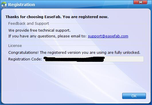 Successfully Register EaseFab DVD Ripper