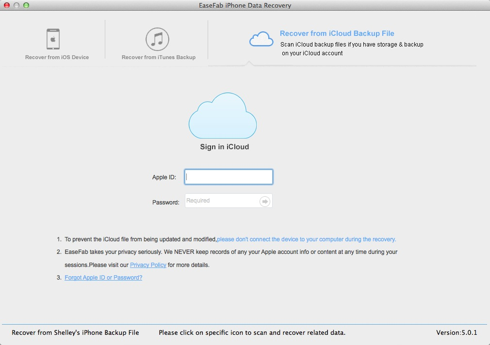 Enter iCloud Account and Password