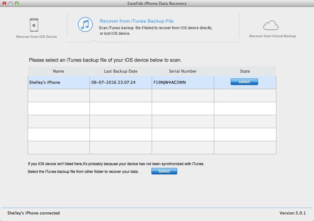 Choose iTunes backup file