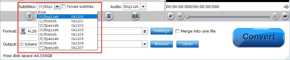 select subtitle and audio