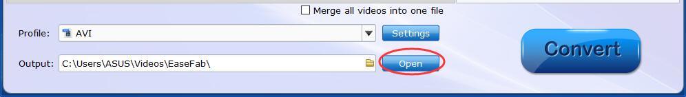 Open output folder